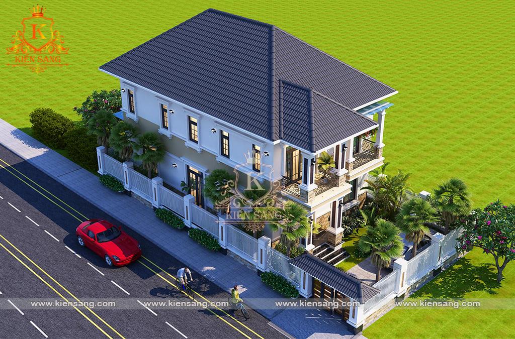 Bàn giao hồ sơ thiết kế biệt thự 2 tầng mái thái tại Ninh Bình