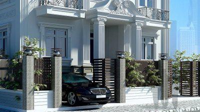 Hỏi xin mẫu thiết kế biệt thự 2 tầng cổ điển đẹp?
