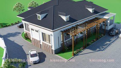 Hỏi giá thiết kế biệt thự 1 tầng mái Thái?