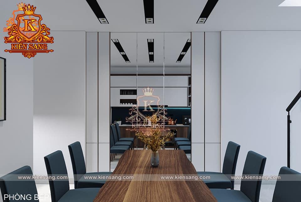 Mẫu thiết kế nội thất phòng khách liền bếp hiện đại đẹp