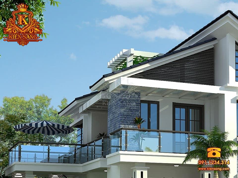 Mẫu thiết kế biệt thự 2 tầng hiện đại mái chéo độc đáo