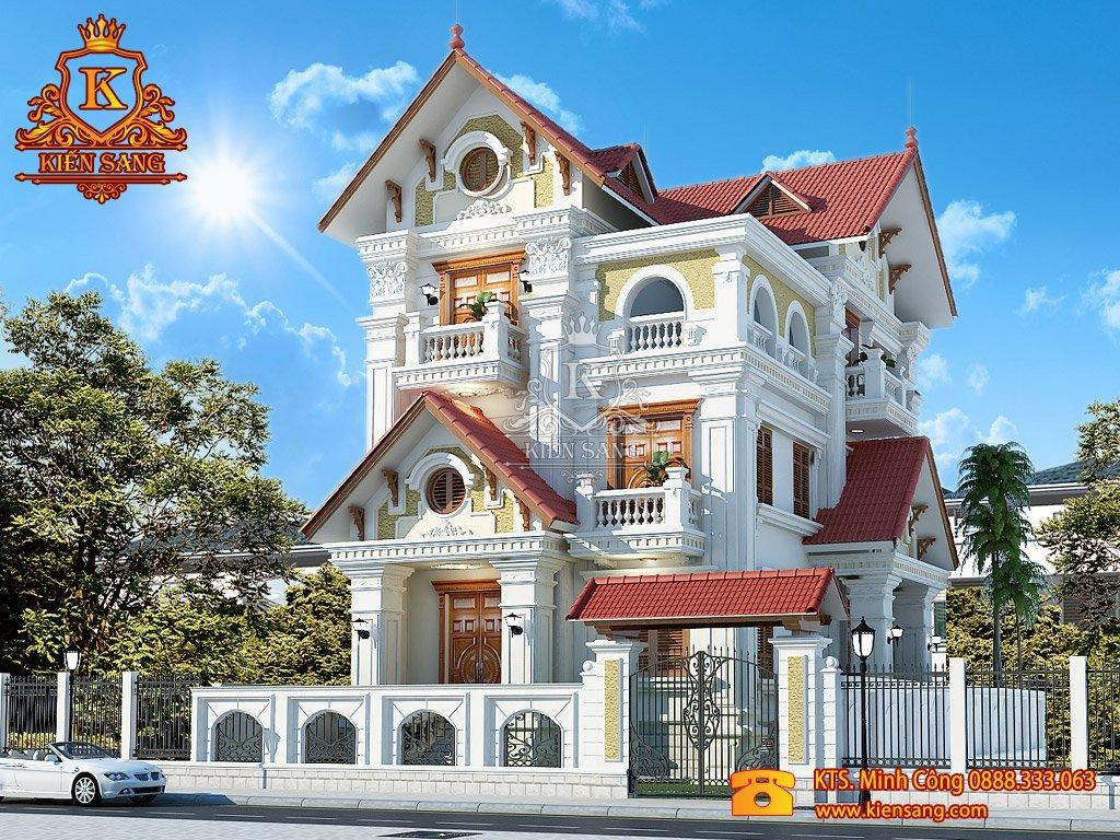 Mẫu thiết kế biệt thự bán cổ điển đẹp
