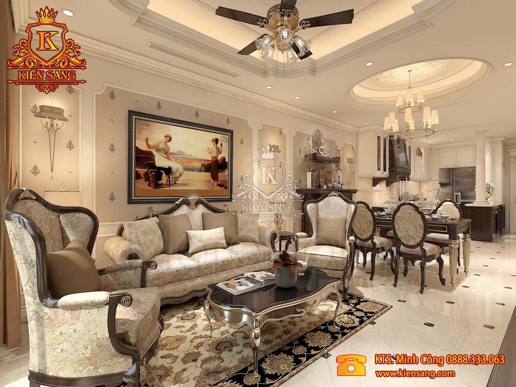 Nội thất phòng khách tân cổ điển đẹp