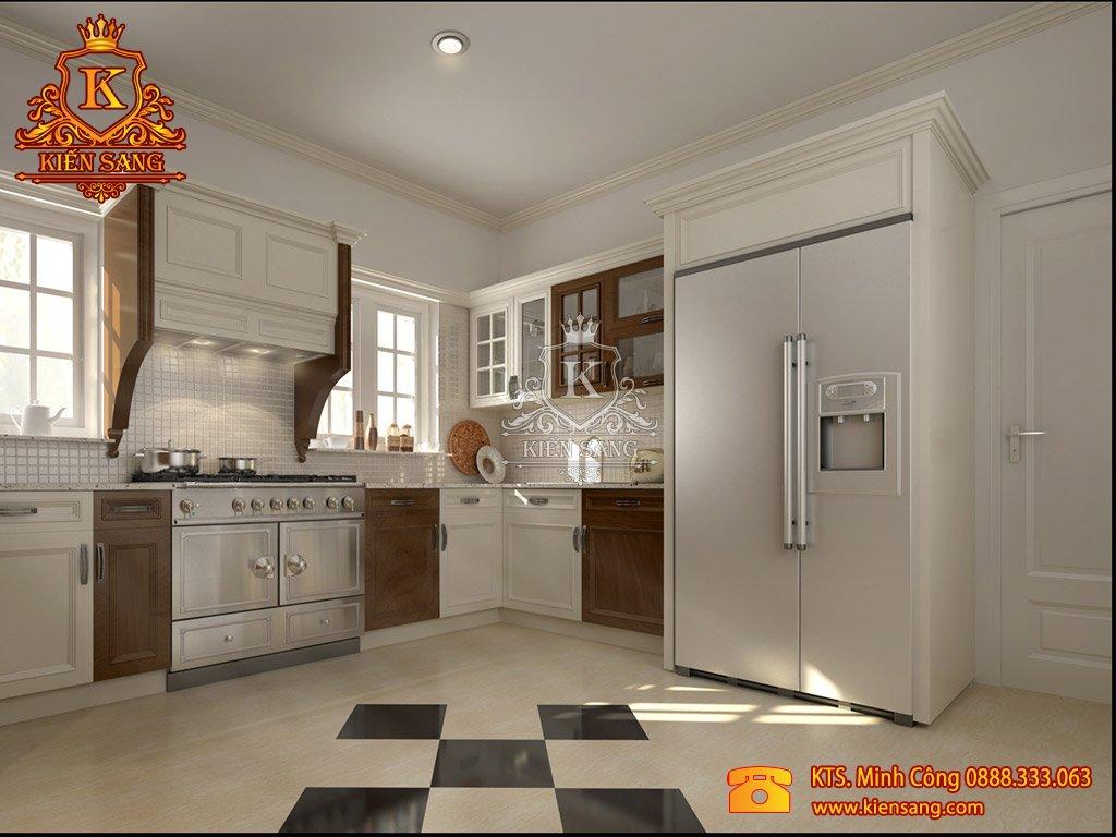 Mẫu thiết kế nội thất phòng bếp nhà phố đẹp