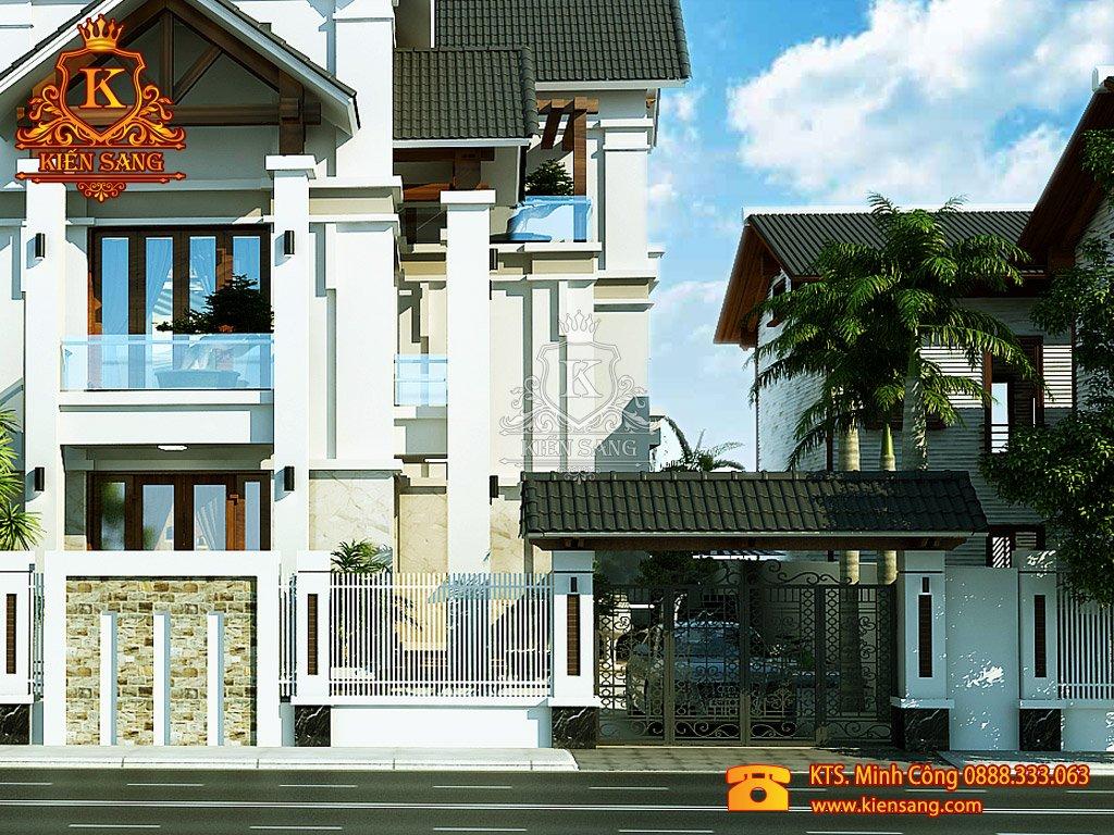 Nhà phố 3 tầng tân cổ điển mái Thái