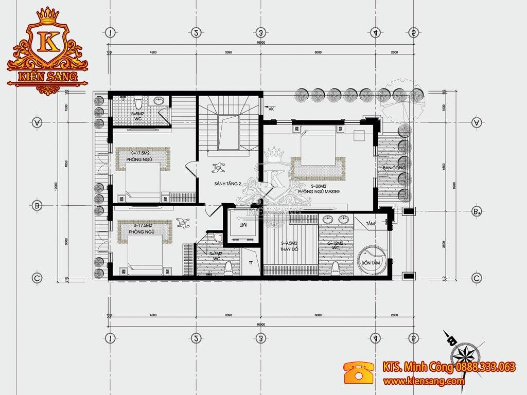 Biệt thự sân vườn 3 tầng hiện đại