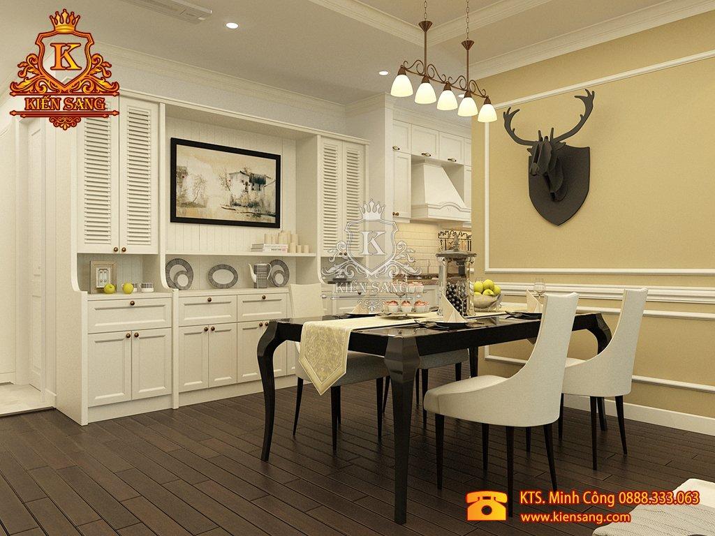 Mẫu thiết kế nội thất phòng ăn biệt thự cổ điển