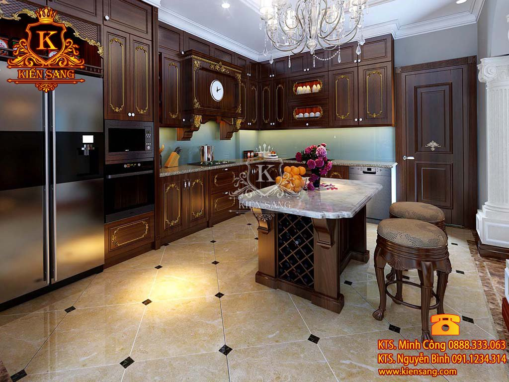 Mẫu thiết kế nội thất phòng bếp biệt thự cổ điển