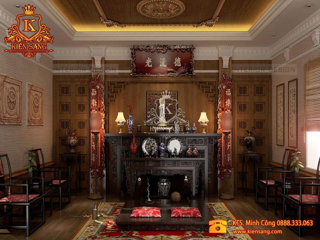 Mẫu thiết kế nội thất phòng thờ biệt thự cổ điển