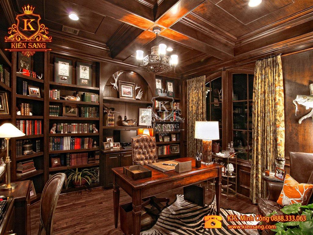 Mẫu thiết kế nội thất phòng làm việc biệt thự cổ điển