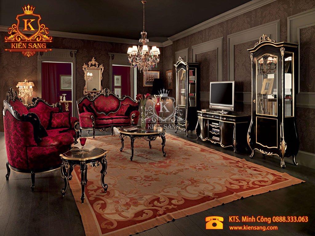 Mẫu thiết kế nội thất phòng khách biệt thự cổ điển