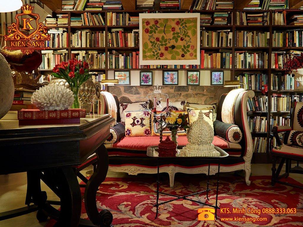 Mẫu thiết kế nội thất phòng đọc sách biệt thự cổ điển