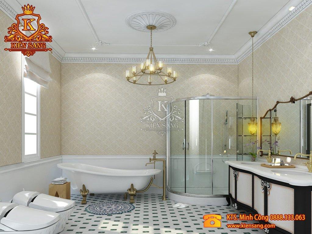 Mẫu thiết kế nội thất phòng Wc biệt thự cổ điển