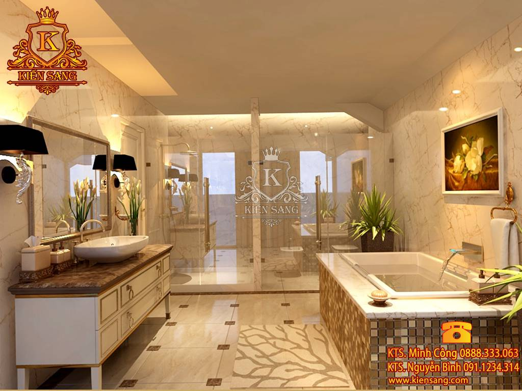 Mẫu thiết kế nội thất phòng tắm biệt thự cổ điển