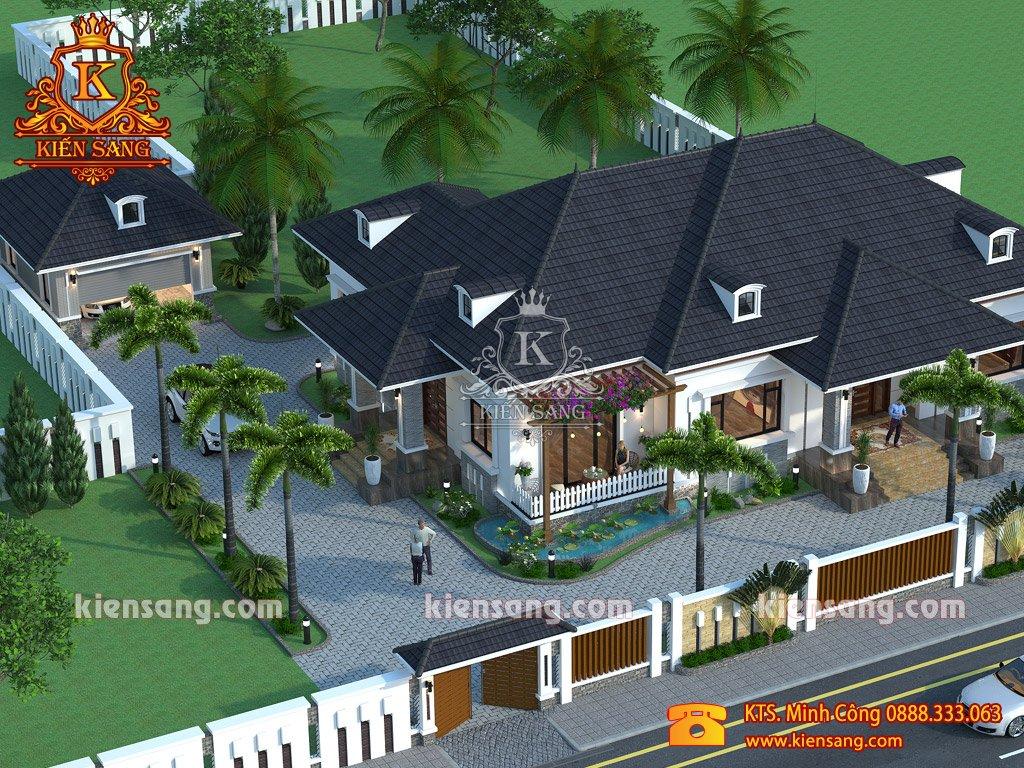 Mẫu thiết kế biệt thự mini 1 tầng hiện đại tại Hà Nội