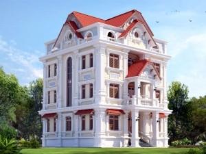 Nhà phố 4 tầng cổ điển mái Thái song lập