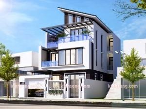 Mẫu nhà biệt thự 3 tầng mái lệch