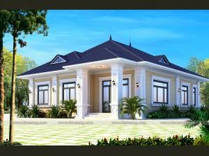 Mẫu biệt thự 1 tầng mái nhật tại Phú Lương - Thái Nguyên