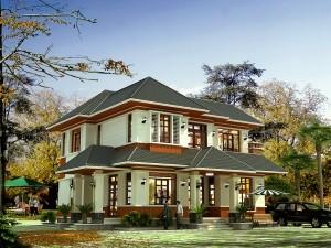 Biệt thự 2 tầng tân cổ điển mái Thái
