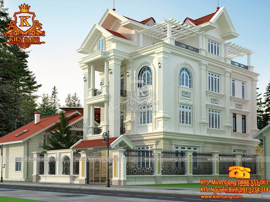 Bản vẽ thiết kế biệt thự 3 tầng tân cổ điển tại Thanh Hóa