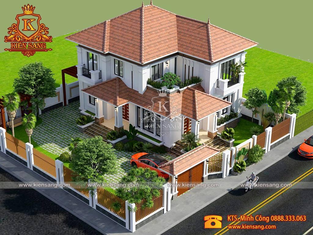Nhà biệt thự 2 tầng mái Thái đẹp