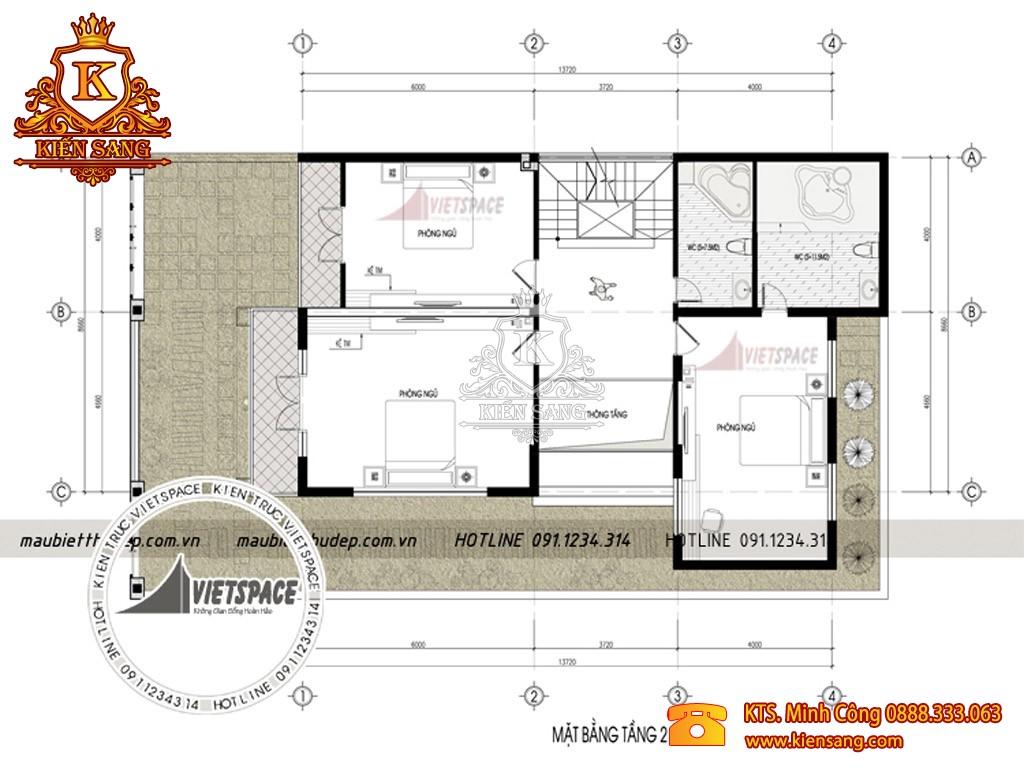 Mẫu thiết kế biệt thự 3 tầng 100m2
