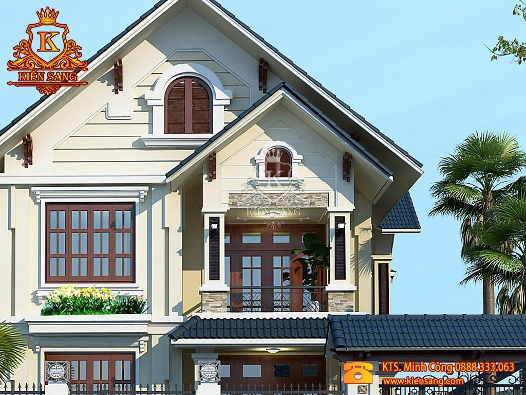 Mẫu biệt thự 2 tầng tân cổ điển mái ngói đẹp