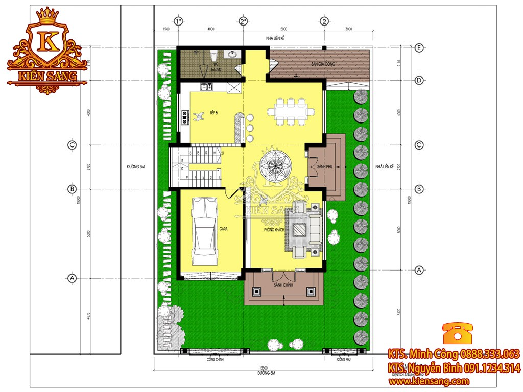 Bản vẽ thiết kế biệt thự 2 tầng 150m2
