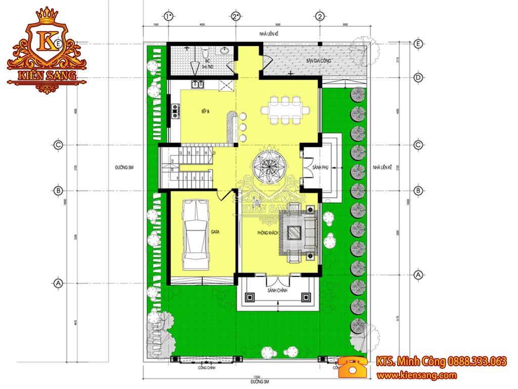Mẫu biệt thự 2 tầng tân cổ điển 130m2 đẹp