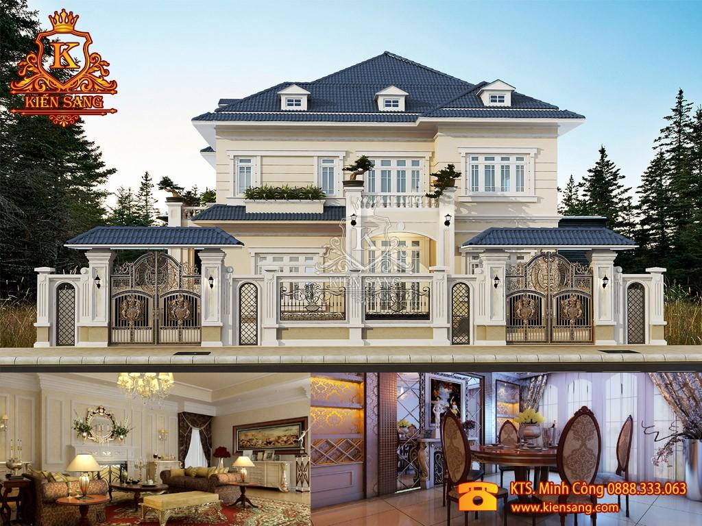 Biệt thự 2 tầng cổ điển mái Thái