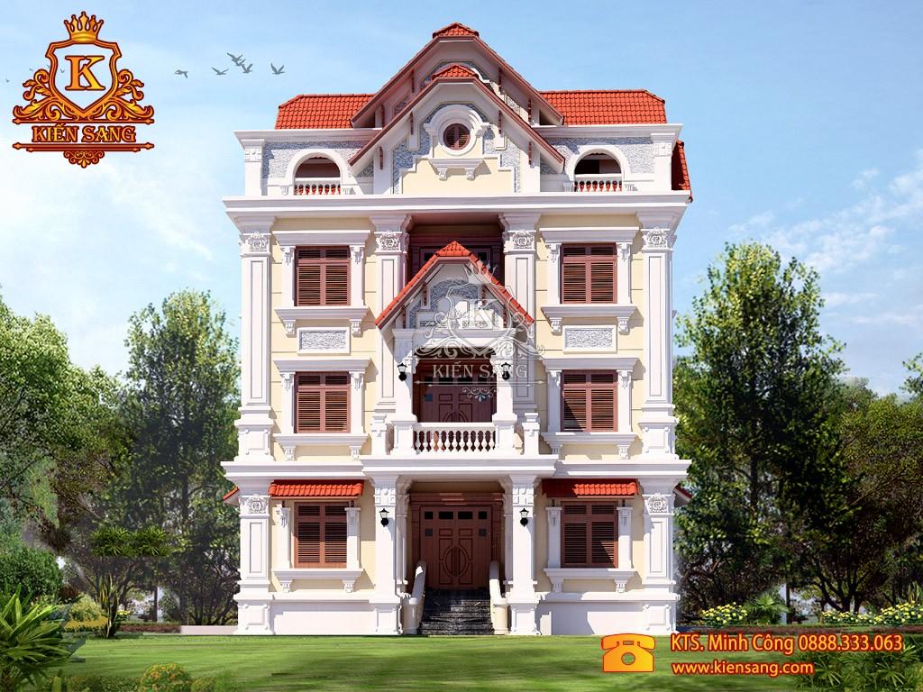 Biệt thự 4 tầng cổ điển mái Thái song lập