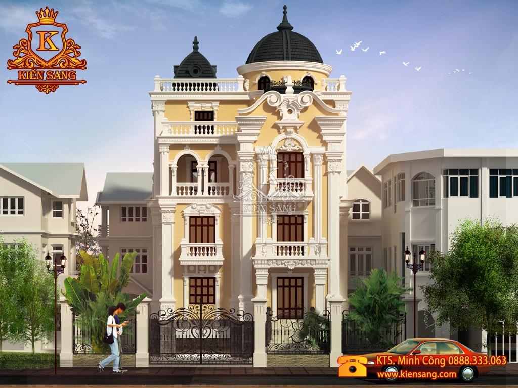 Thiết kế biệt thự 4 tầng cổ điển