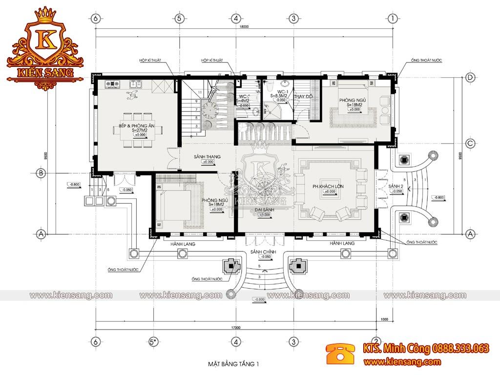 Biệt thự 2 tầng tân cổ điển 160m2