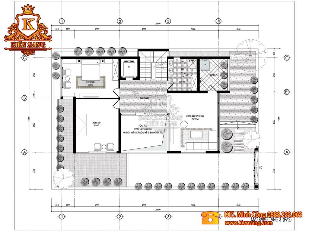 Biệt thự 3 tầng hiện đại 150m2