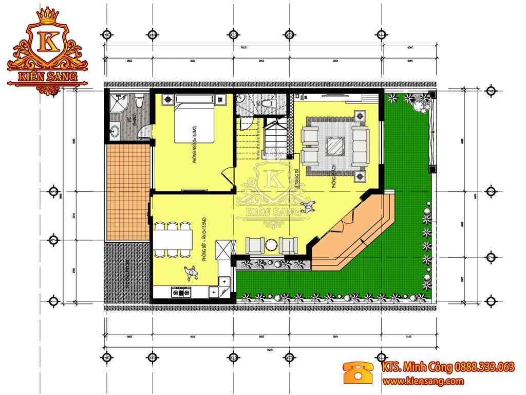 Biệt thự 3 tầng mái lệch