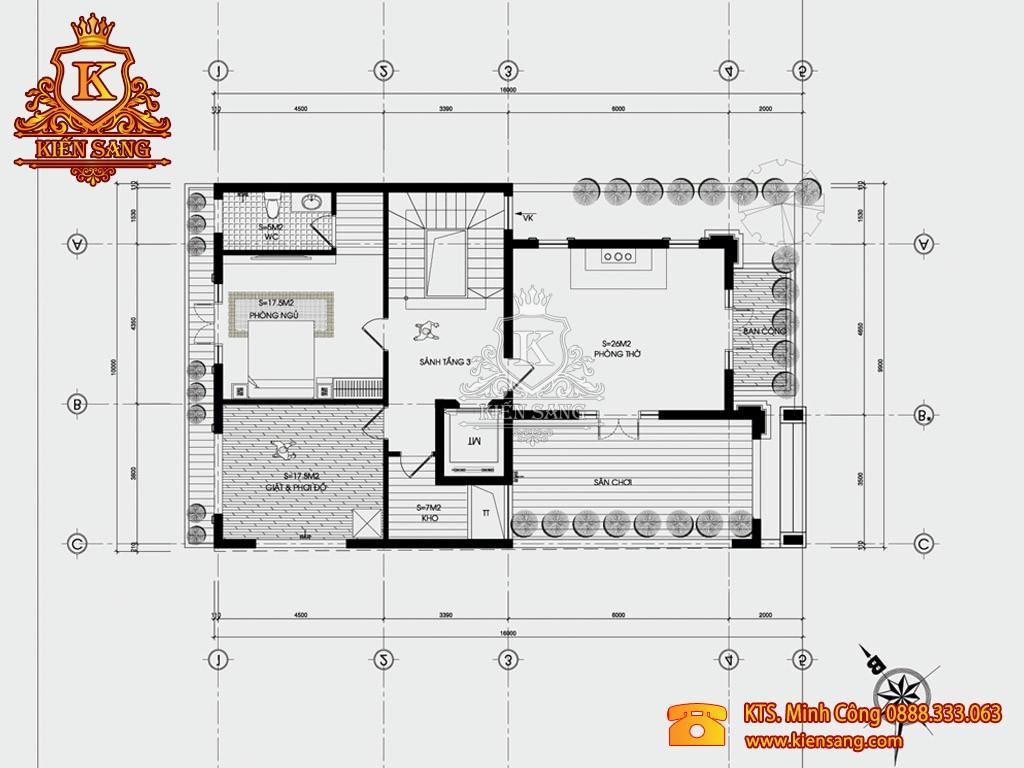 Biệt thự 3 tầng hiện đại kiểu chữ T