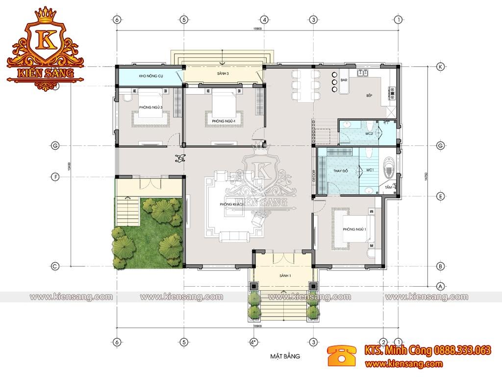 Mẫu biệt thự 1 tầng mái thái tại Đồng Tháp 700tr