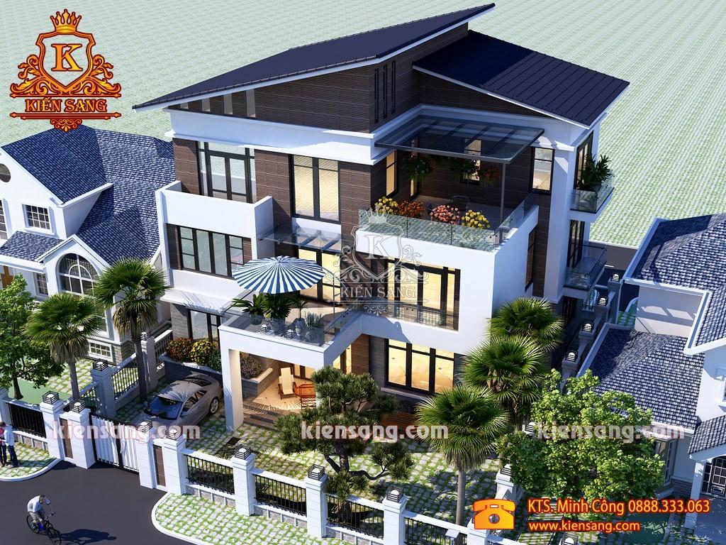 Bản vẽ mẫu thiết kế biệt thự 3 tầng mái lệch