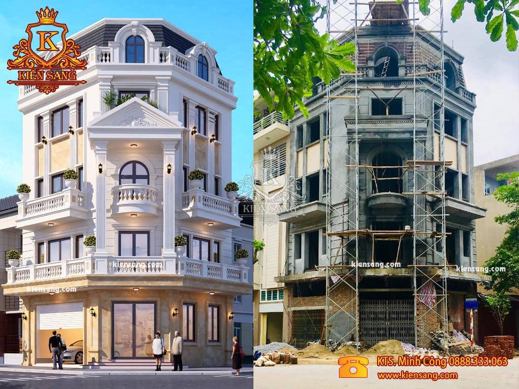 Thi công nhà biệt thự 5 tầng phong cách Châu Âu