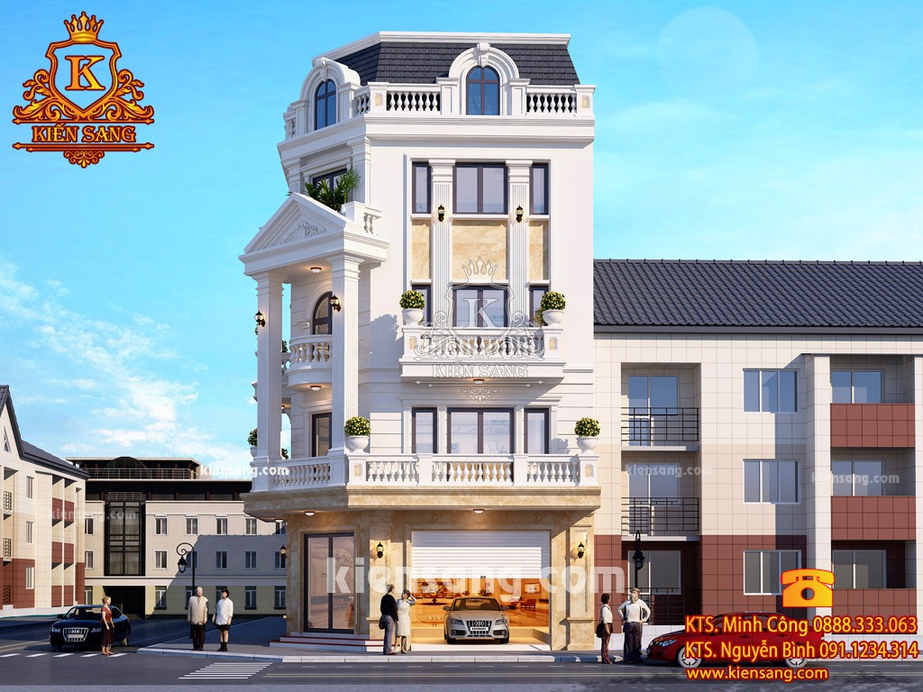 Công trình biệt thự 5 tầng phong cách Châu Âu đẹp