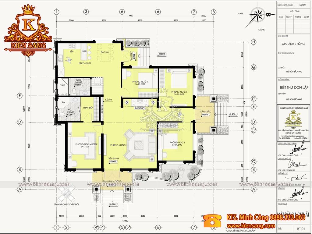 Mẫu biệt thự 1 tầng mái nhật tại Hiệp Hòa - Bắc Giang