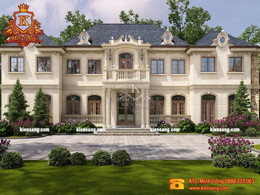 Mẫu nhà biệt thự 2 tầng tân cổ điển sân vườn đẹp