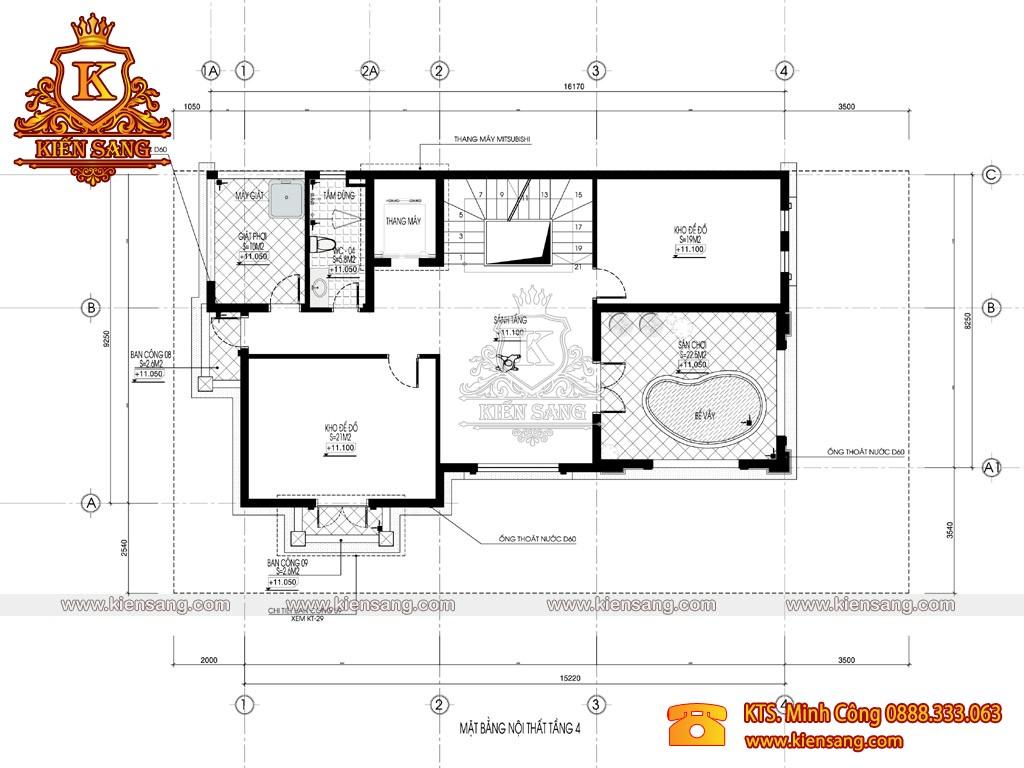 Biệt thự 4 tầng tân cổ điển 150m2