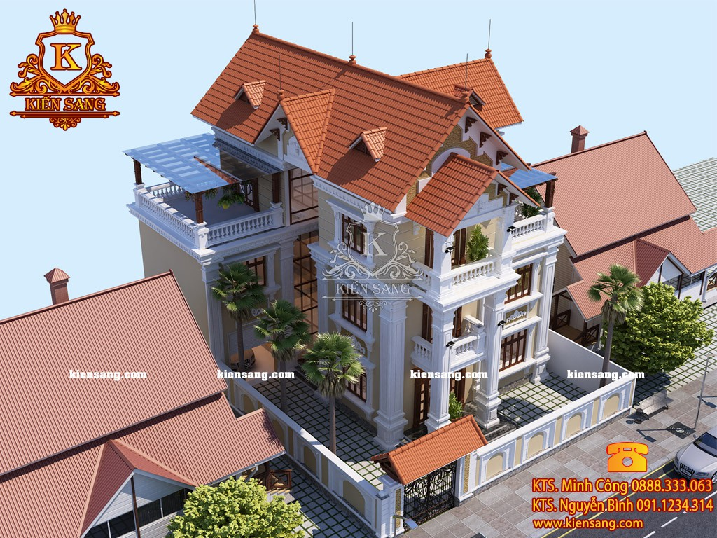 Thi công biệt thự tân cổ điển biêt thự 3 tầng tại Hải Dương