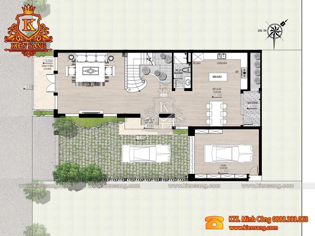 Biệt thự 3 tầng hiện đại 140m2