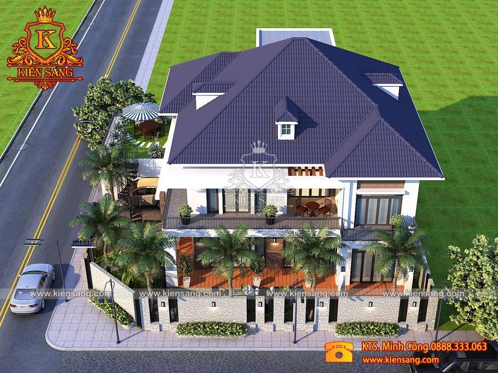 Biệt thự 2 tầng hiện đại mái Thái