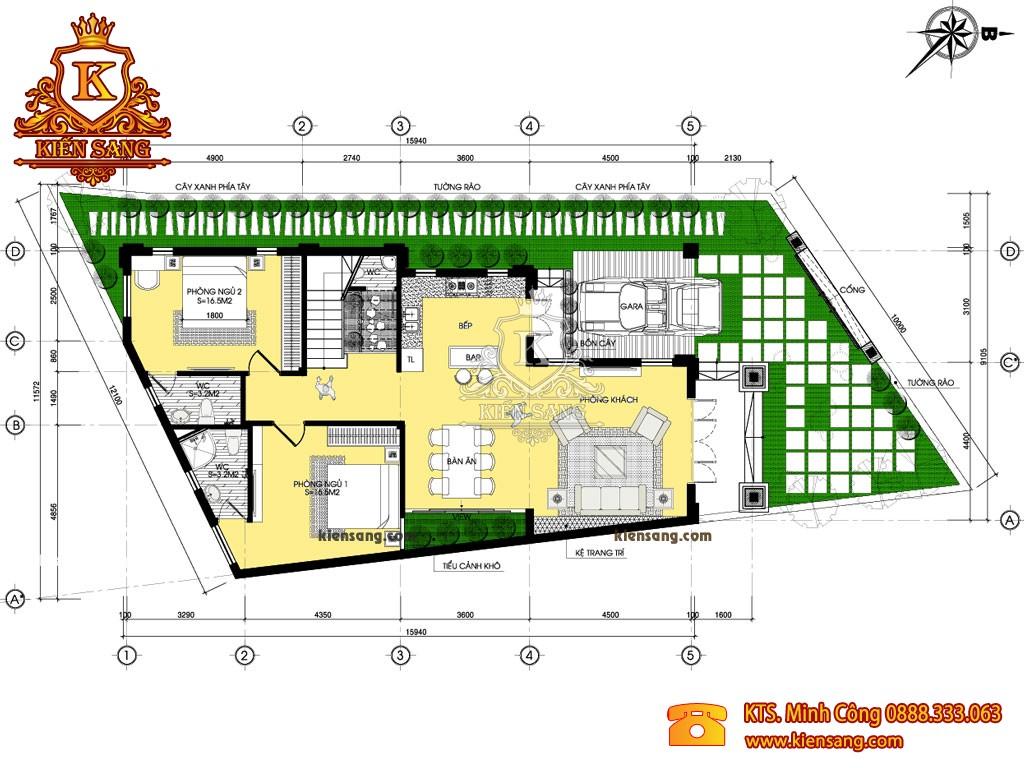 Mẫu thiết kế biệt thự 2 tầng 5 phòng ngủ tân cổ điển
