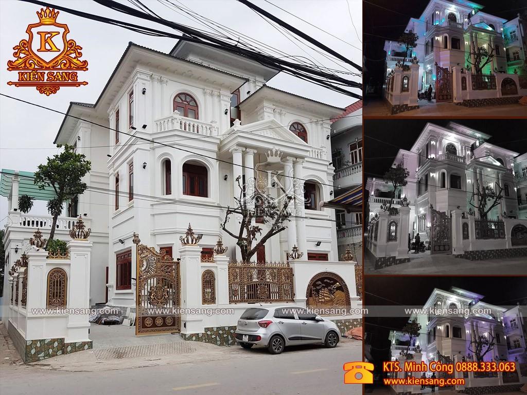 Tiến độ thi công biệt thự 3 tầng tân cổ điển tại Vĩnh Phúc