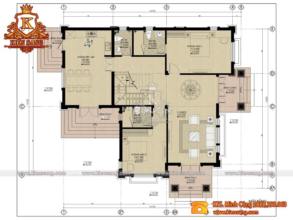 Biệt thự 2 tầng hiện đại 135m2